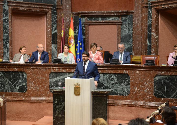 Fernando López Miras, en un momento de su debate de investidura como presidente del Consejo de Gobierno de la Región de Murcia