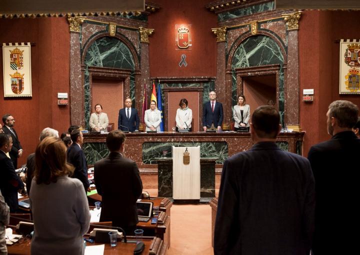 Los diputados, en pie, guardan un minuto de silencio en homenaje a la mujer asesinada ayer por violencia de género