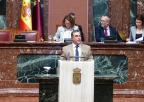 Jesús Navarro, diputado del Grupo Socialista, durante el debate de la moción sobre el sector de la flor cortada