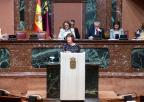 María Giménez Casalduero, diputada de Podemos, durante el debate de la moción sobre el sector de la flor cortada